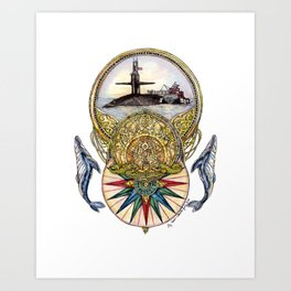 Whale of A Tale - Submarine with Gold Dolphins Art Print
