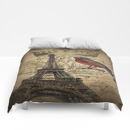 I love Paris Shabby chic Robin French Scripts Jubilee Crown Vintage Paris Eiffel Tower Comforters