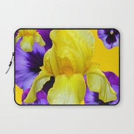 PURPLE PANSIES & YELLOW IRIS MONTAGE Laptop Sleeve