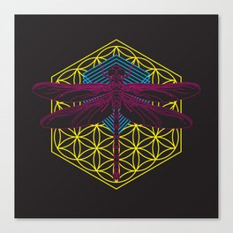 Dragonfly Flower of Life Canvas Print