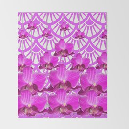 PURPLE ART DECO PATTERN ORCHIDS PATTERN ABSTRACT Throw Blanket