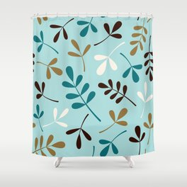 Assorted Leaf Silhouettes Teals Cream Brown Gold Shower Curtain