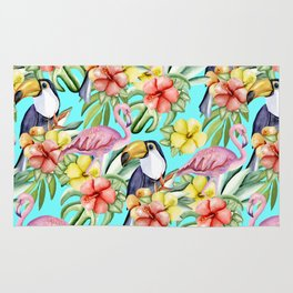 Tropical birds and flowers Rug