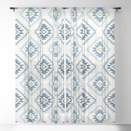 Aztec Style Motif Pattern Blues White Gold Sheer Curtain