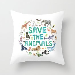 Watercolor Save the Animals Throw Pillow