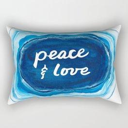 Peace and Love Blue Geode Rectangular Pillow