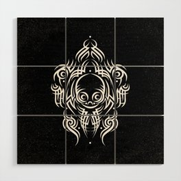 Alien Tribal Tattoo - white Wood Wall Art