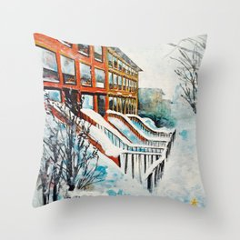 Brooklyn New York In Snow Storm Throw Pillow