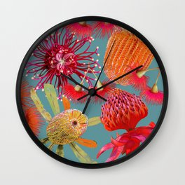 Aussie Beauties on steel blue Wall Clock