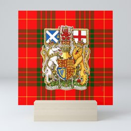 ROYAL SCOTS BANNER ON CAMERON PLAID TARTAN Mini Art Print