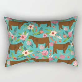 Red Angus cattle breed floral farm homestead gifts cow pattern Rectangular Pillow