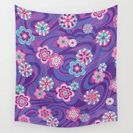 Swirls & Flowers Purple Wall Tapestry