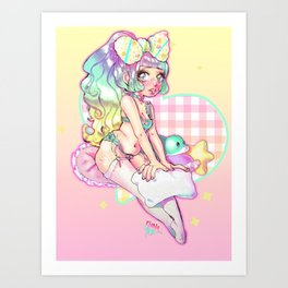 Fluffy Sleepover Art Print