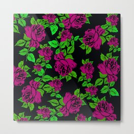 ROSES ROSES PINK AND GREEN Metal Print