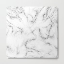 Deep Marble Texture Black White Metal Print