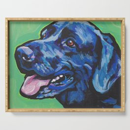 Black Lab Labrador Retriever Fun Dog bright colorful Pop Art Painting by LEA Serving Tray