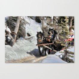 Horse Drawn Wintery Sleigh Ride Canvas Print