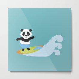 Surf Panda Metal Print