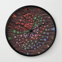 Colorful background with flower Wall Clock