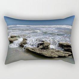 Coquina Rocks along the Shoreline Rectangular Pillow
