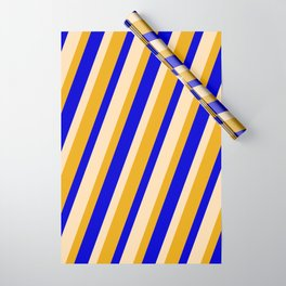 Tan, Goldenrod, and Blue Colored Stripes/Lines Pattern Wrapping Paper
