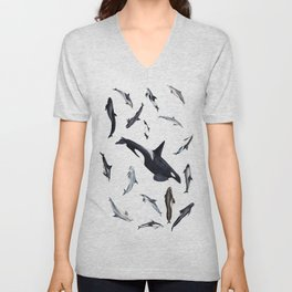 Dolphins all around Unisex V-Neck