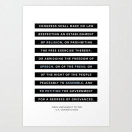 First Amendment to the U.S. Constitution Art Print