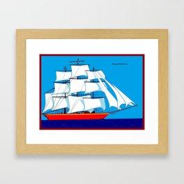 Clipper Ship in Sunny Sky - Happy Birthday on some items Framed Art Print