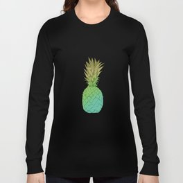Gold and blue pineapple over blue strips Long Sleeve T-shirt