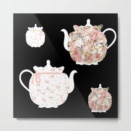 Teapots on Black Metal Print