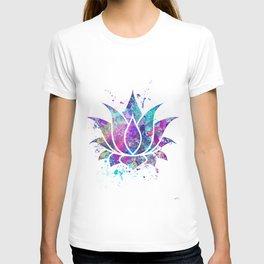 Lotus Flower Watercolor Print Wall Art Wedding Gift Zen decor T-shirt