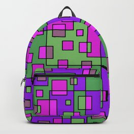 Purple Green Abstract Square Backpack