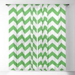 Chevron Texture (Green & White) Sheer Curtain