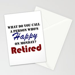 Retired On Monday Funny Retirement Retire Burn Stationery Cards