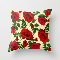 roses Throw Pillows featuring roses  by mark ashkenazi