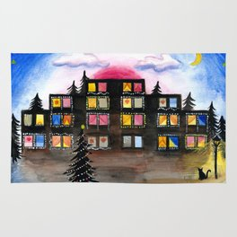 Christmas Building Painting Rug