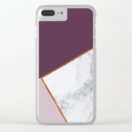 MARBLE PLUM PURPLE LAVENDER COPPER GEOMETRIC Clear iPhone Case