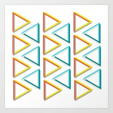 Impossible triangles geeky pattern. Art Print
