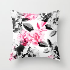Rose Garden in Pink and Gray Throw Pillow