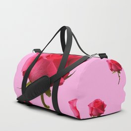 SCATTERED PINK ROSE BUD FLOWERS ON PINK Duffle Bag