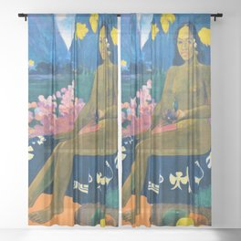 12,000pixel-500dpi - Paul Gauguin - The Seed Of The Areoi - Digital Remastered Edition Sheer Curtain