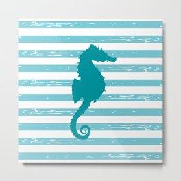 AFE Turquoise Seahorse Metal Print