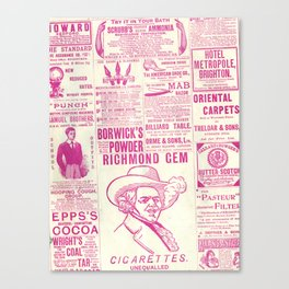 Old Tyme Newspaper Pink Canvas Print