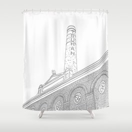 London Truman Chimney - Line Art Shower Curtain