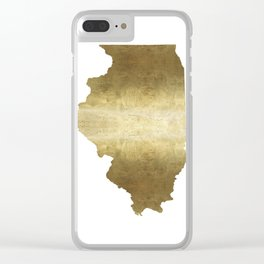 illinois gold foil state map Clear iPhone Case