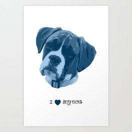 I love my dog - Boxer, blue Art Print