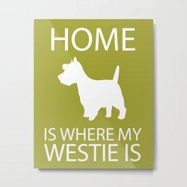 Westie Dog Sihouette Art Metal Print