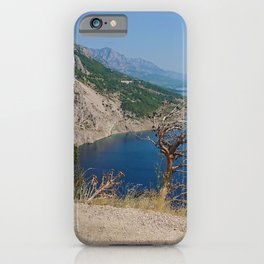 Rocky beach, bue transparent sea in Istria and dry tree, Croatian coast iPhone Case