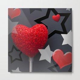 Hearts & Stars Whimsical Abstract Metal Print