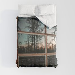 Lumberjack Cabin Window // Grainy Reflection of the Sunset and Trees Comforters